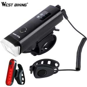 WEST BIKING rechargeable bike light 350 lumens, red back light & 120 dB horn for £11.91 delivered @ AliExpress Deals / Cyclespeed Store