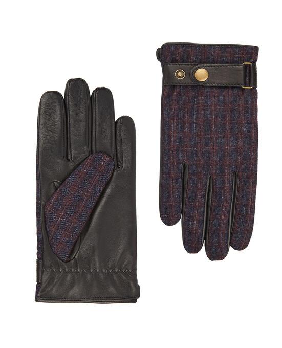 Navy and Burgundy Grid Check Barberis Wool & Leather Tweed Gloves £12.25 delivered @ TM Lewin