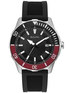 Bulova Mens Stainless Steel Black Date Dial Rubber Strap Watch 98B348 £80.55 with code at The Jewel Hut