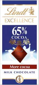 Lindt Excellence Milk 65% Cocoa 80g / Milk Extra Creamy Chocolate Bar (100g) £1.50 (Prime) / ££5.99 (non Prime) at Amazon