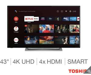 Toshiba 43UA3A63DB 43 Inch 4K Ultra HD Smart Android TV £249.99 from Costco from 11th
