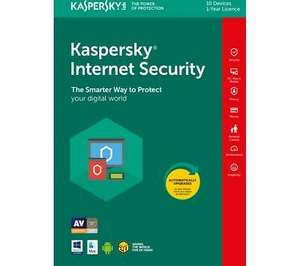 Kaspersky Internet Security 2018 (10 devices, 1 year) - Will activate latest version of Kaspersky - £18.97 @ Currys PC World / eBay