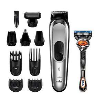 offer Braun 10-in-1 MGK7220 Men Beard Trimmer, Body Grooming Kit & Hair Clipper, Silver Grey £54.64 Boots