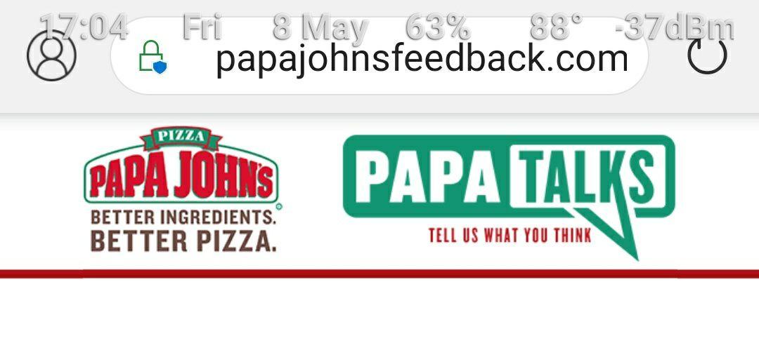 Get a Free Garlic Sticks or Potato tots with any Purchase via survey url at Papa Johns