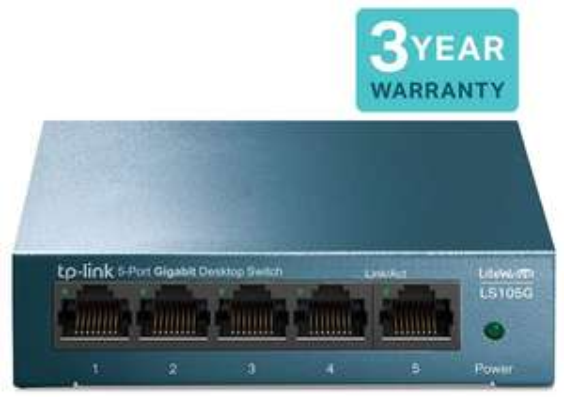 TP-Link LS105G 5-Port Desktop/Wallmount Gigabit Ethernet Switch, Steel Case - £12.95 (Prime) // £17.44 (Non Prime) @ Amazon (8 ports £15.98)