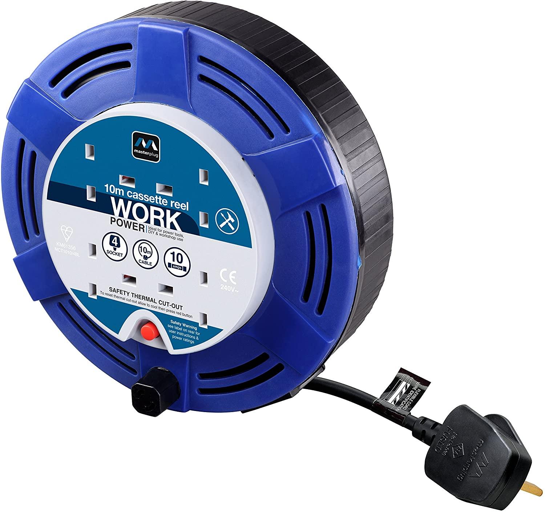 Masterplug Four Socket Cassette Reel Extension Lead 10 Metres (Blue) £13.85 (+ £4.49 NP) / 5m £8.99 at Amazon