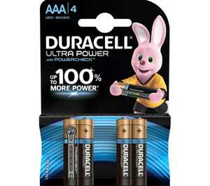 DURACELL LR03/MX2400 Ultra Power AAA Alkaline Batteries - Pack of 4 at Currys/Ebay for £3.03