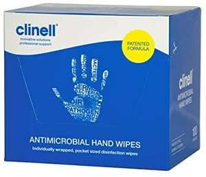 Clinell - Antibacterial Wipes Suitable for Hands and Surfaces - Pack of 100 Individual Wipes £9.44 prime / £13.93 non prime @ Amazon