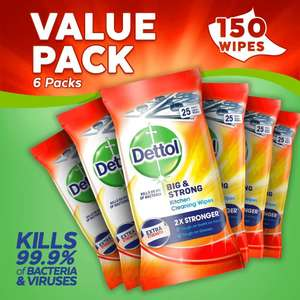 6 Packs of Dettol Kitchen Cleaning Wipes Bulk Big and Strong (6 x 25 Wipes, Total 150 Wipes) £12 at Amazon (£11.40 with S&S / + £4.49 NP)