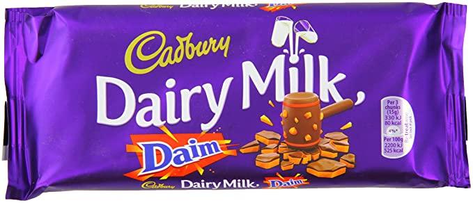 120g Cadbury Dairy Milk Daim. 79p Heron Foods Abbey Hulton
