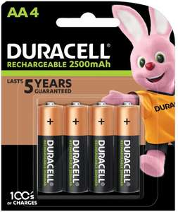 Duracell Rechargeable AA 2500 mAh Batteries Ideal for Xbox Controller, Pack of 4 £8.95 @ Amazon Prime / £13.44 Non Prime