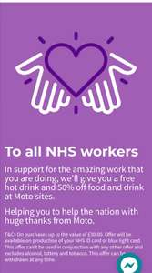 Free hot drink & 50% off food and drink at M&S for NHS workers at Moto service stores