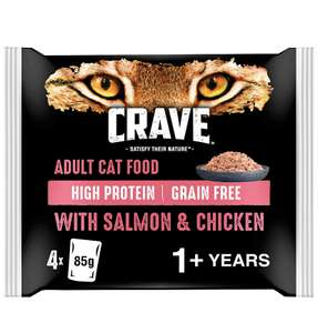 Crave Salmon and Chicken in Loaf Adult 1+ High Protein Grain Free Wet Cat Food Pouches 4 x 85 g £1 (Min £15 + £3.99 p&p) @ Amazon Pantry