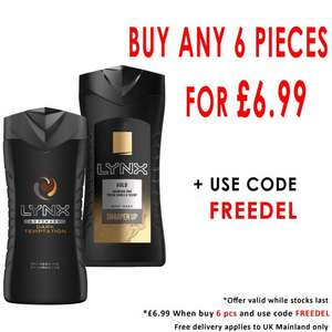 SIX Lynx Body Washes 250ml - Temptation or Gold (any combination) £6.99 delivered @ Beauty Base