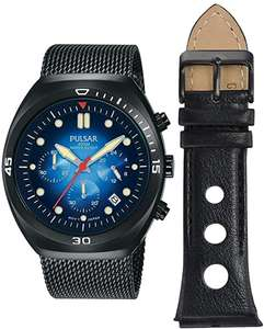 Pulsar PT3951X2 42mm Quartz Watch Black PVD + Mesh Strap + Leather Rally Strap, 100M WR, Mineral Crystal £54 With Code @ First Class Watches