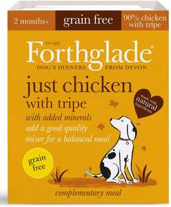 Forthglade 100% Natural Dog Food Grain Free Complementary Wet Dog Food Just 90% Chicken with Tripe 395g 77p + £4.49 NP @ Amazon
