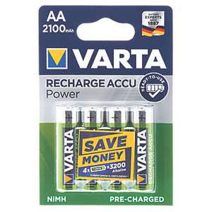 Varta READY2USE rechargeable AA batteries 2100mah 4 pack £9.99 Delivered @ Screwfix