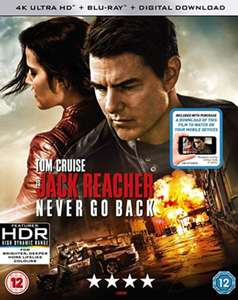 Jack Reacher: never Go Back 4K [Blu-ray] [2016] £6.99 (Prime) £9.98 (Non Prime) @ Sold by DVDBayFBA and Fulfilled by Amazon.