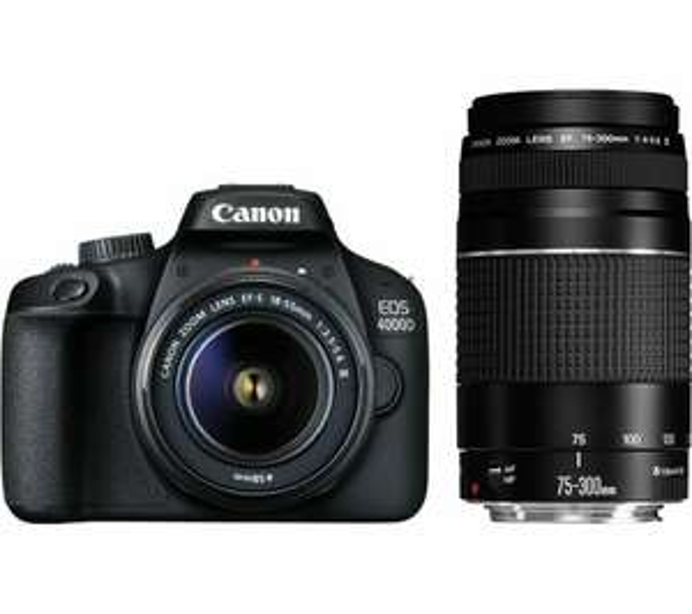 CANON EOS 4000D DSLR Camera EF-S 18-55 mm f/3.5-5.6 III & EF 75-300 mm f/4-5.6 - £360.05 @ Currys PC World eBay