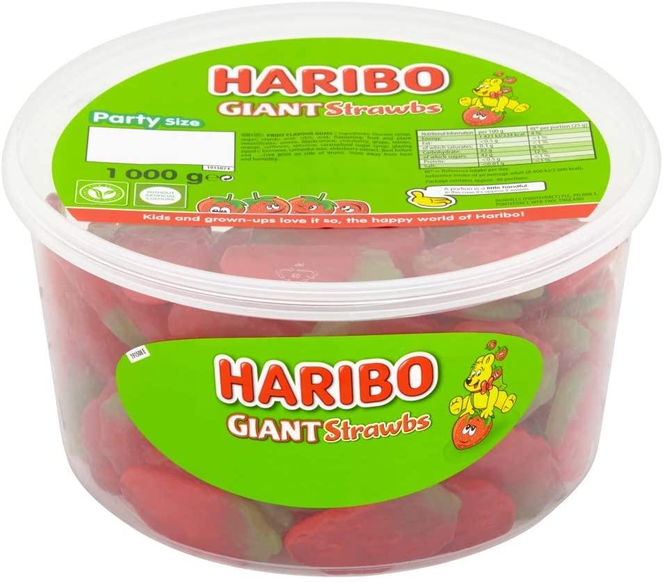 HARIBO Giant Strawberry Bulk Sweets, 1 kg - £4 at Amazon (+ £4.49 NP)