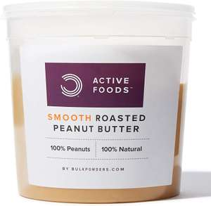 BULK POWDERS Natural Roasted Peanut Butter Tub, Smooth, 1 kg - £4.89 (Prime) £9.28 (Non Prime) @ Amazon