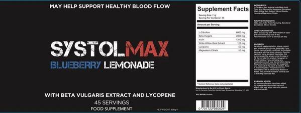 Blueberry lemonade Strom Sports SystolMAX (blood pressure support) 495g - £24.99 @ cardiffsportsnutrition / eBay