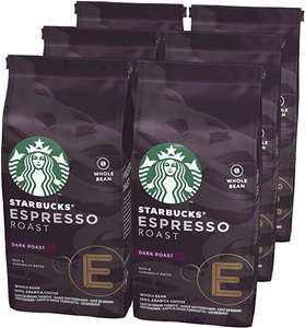 STARBUCKS Espresso Roast Dark Roast Whole Bean Coffee, 200 g (Pack of 6) £18 at Amazon (£16.20 with S&S / + £4.49 NP)