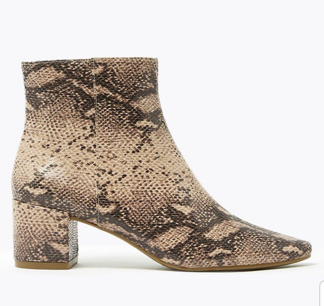 Block Heel Ankle Boots snakeskin print £9.59 + £3.50 del at Marks & Spencer