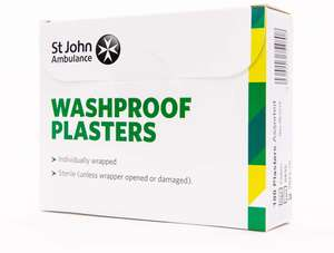 St John Ambulance Assorted Washproof Plasters (Pack of 100), £3.42 at Amazon (+£4.49 non prime)