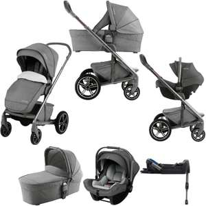 Nuna Mixx (Pipa Lite) Limited Edition Travel System, Isofix Base & Carrycot - Threaded Grey £649.95 @ online4baby
