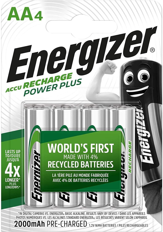 Energizer Power Plus 2000 mAh NiMH AA rechargeable batteries 4-pack £5.61 @ Amazon UK