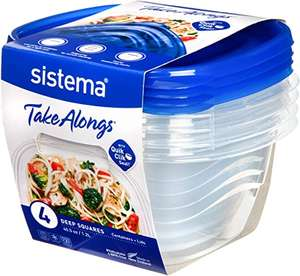 4 Pack Sistema Takealongs 1.2L Deep Square Food Storage Containers £3.50 (+£4.49 NP) Delivered @ Amazon