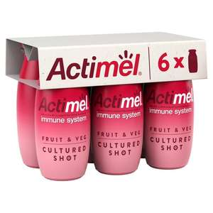 6 x 100g, Actimel Fruit & Veg Cultured Shot, Red or Yellow Smoothies. 69p @ Heron Foods.