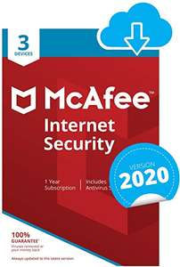 McAfee Internet Security 2020 | 3 Devices | 1 Year | PC/Mac/Android/Smartphones | Download Code £6.49 at Amazon
