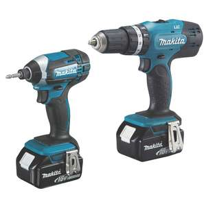 Makita DLX2142SM 18V 4.0AH LI-ION LXT Cordless Combi Drill & Impact Driver Twin Pack - £199.99 delivered @ Screwfix