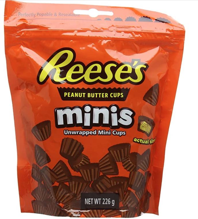 Mini Reese's peanut butter cups (2 bags minimum, £2.95/ea) £5.90 prime / £10.39 non prime @ Amazon