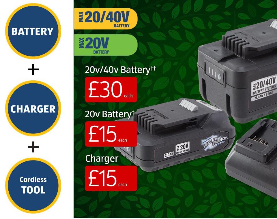 ALDI Cordless 20v/40v garden tools bundle (Lawnmower, strimmer, hedge trimmer and extra battery) for £190