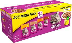 Whiskas Wet food Pouches - Poultry Selection in Jelly, (Suitable for Cats Aged 1+, 40 x 100 g) £8.75 (+ £4.49 NP) at Amazon