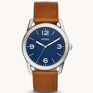 Ledger Three-Hand Brown Leather Watch for £26 + Free delivery + Free engraving @ Fossil