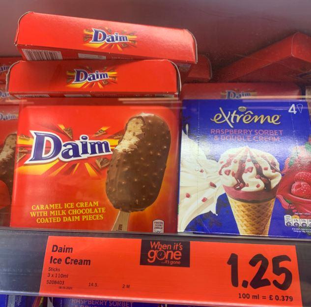 Daim Ice Cream (£1.25 for 3) / Magnum White Choc & Cookies (£1.49 for 3) @ Lidl Hersham