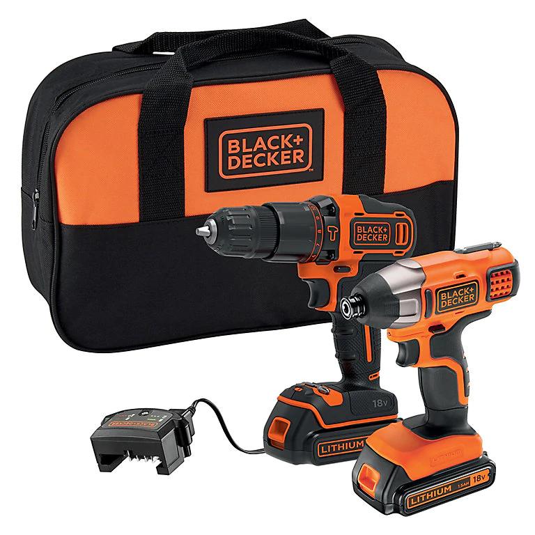 Black & Decker 18V 1.5Ah Li-ion Combi drill & impact driver twin pack 2 batteries BCK25S2S-GB £80 at B&Q