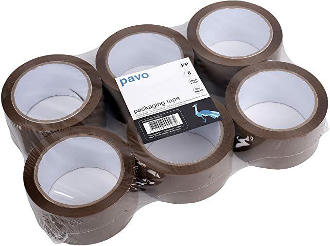 PAVO Premium 50 mm x 66 m Polypropylene Packing Tape - Brown (Pack of 6) £3.60 At Amazon
