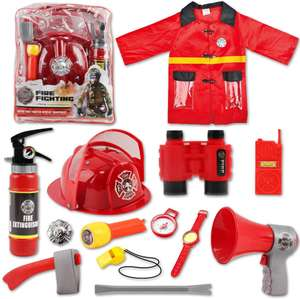 deAO Washable Fireman Costume Set with 13 Firefighter Toy Accessories, Backpack and Real Water Shooting Extinguisher Sold By deAO Toys/OnBuy