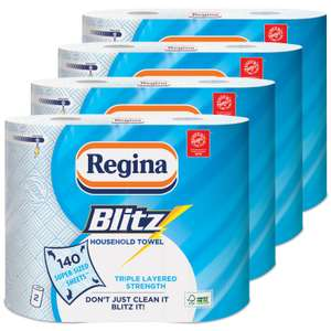 Regina Blitz Household Towel, 8 Rolls, 560 Super-Sized Sheets, Triple Layered Strength £9.32 @ Amazon (+£4.49 non-prime)