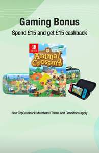 £15 cashback for new TopCashBack accounts if you spend a minimum of £15 in gaming