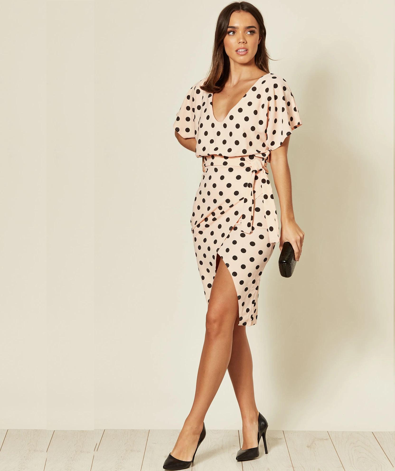 Maura Polka Dot V Neck Judith Batwing Wrap Dress (4 colour options) £11.50 delivered @ Missfiga