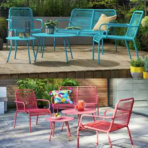Argos Home Ipanema 4 Seater Sofa Set (Metal Framed / Rattan Seats and Backs) In Blue or Coral - £138.94 Delivered @ Argos