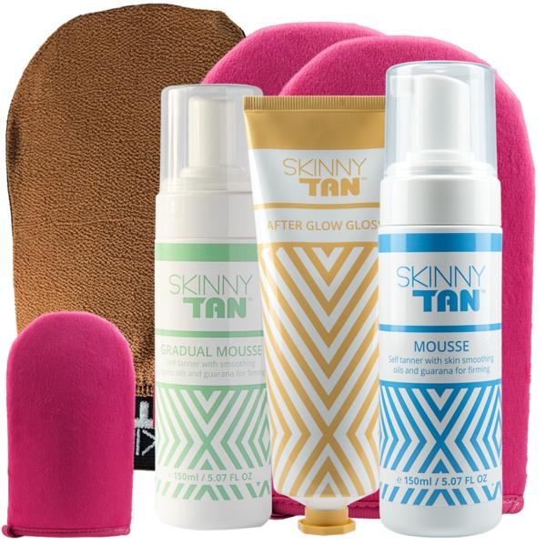 Skinny Tan Kit - Mousse + Gradual Mousse + After Glow Gloss + Exfoliating Mitt + 2 Tanning Mitts + Mini Mitt £27.99 delivered @ Skinny Tan