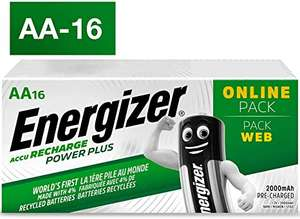 Energizer Rechargeable Batteries AA, Recharge Power Plus, Pack of 16 £22.99 delivered at Amazon