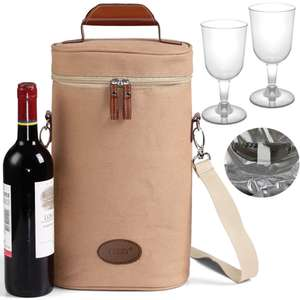 Bottle Cooler Bag with Wine Glasses (plastic) & Bottle Opener - £6.49 Sold By The Magic Toy Shop / OnBuy
